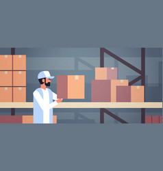 storekeeper warehouse worker puts cardboard box on vector image