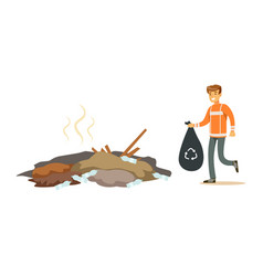 Street cleaner man in a orange uniform holding vector