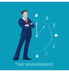 Time management business concept with businessman vector image