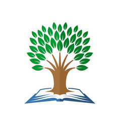 Tree of knowledge logo open book and tree vector