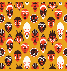 Tribal african mask art background pattern vector