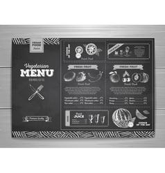 Vintage chalk drawing vegetarian food menu design vector image