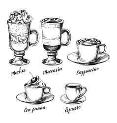 vintage hand drawn coffee types set vector image