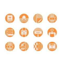 Warm floor models round orange icons set vector image
