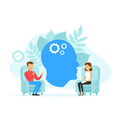 Woman psychologist and man patient in therapy vector