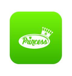 Word princess crown icon green vector