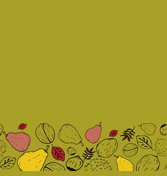 Yellow horizontal autumn doodle background vector
