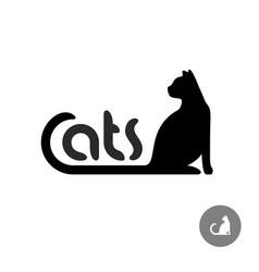 black cat silhouette with text logo vector image vector image