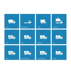 Commercial delivery truck icons on blue background vector image