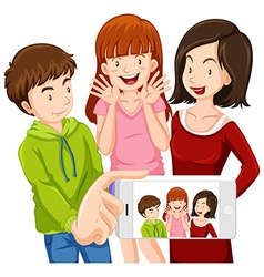 Friends taking picture from phone vector image