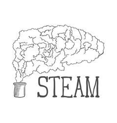 hand drawn steam on white background vector image vector image