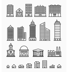 Line building icons set of outline buildings vector image vector image