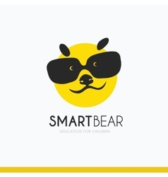 logo smart bear with glasses idea vector image vector image