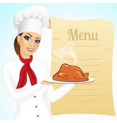 Smiling female chef with christmas roasted turkey vector