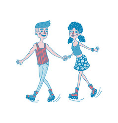 young couple roller skating together vector image