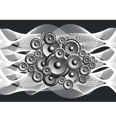 Abstract loudspeakers with music waves vector image