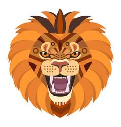 angry lion head logo decorative emblem vector image