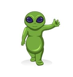cartoon green alien extraterrestrial character vector image