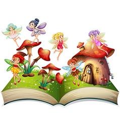 Fairies flying around the mushroom house vector image vector image