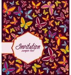 Frame with background of butterflies invitation vector image vector image