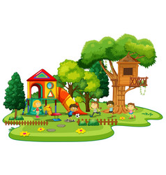 happy children playing in the playground vector image vector image