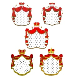 Heraldic red royal mantles set vector image vector image
