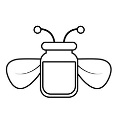 jar of bee honey icon outline style vector image