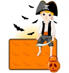 little Halloween pirate place card vector image vector image