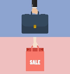 Male hand holding briefcase and female hold vector image vector image