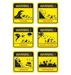 Natural Disaster Warning Signs Family Running vector image