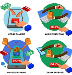 online shopping set vector image vector image