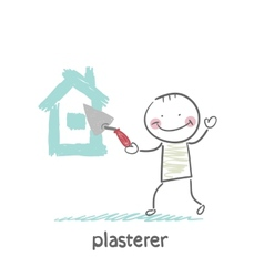 plasterer paints cement house vector image vector image