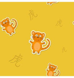 Seamless pattern with Chinese Zodiac Tiger Sign vector image
