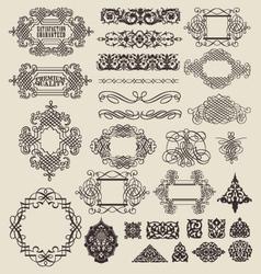 decorative lines and border elements set vector image