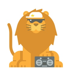 Flat design cool lion vector image vector image