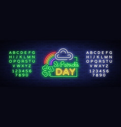 St patricks day neon sign logo vector