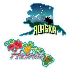 Alaska hawaii retro state facts vector