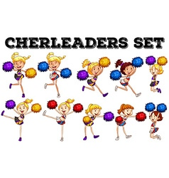 Cheerleaders with pompom jumping up and down vector
