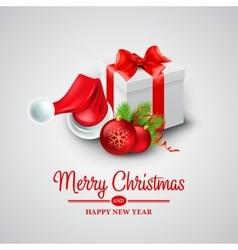 Christmas gift box and Santa hat vector image vector image