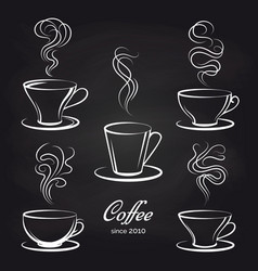 coffee cups with smoke on blackboard vector image