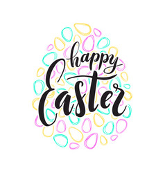 happy easter text lettering colored doodle vector image