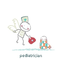 pediatrician flies to a sick child vector image vector image
