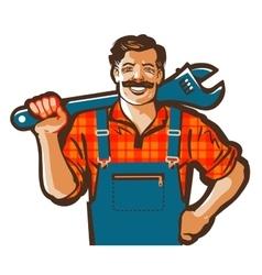 plumber logo wrench or handyman icon vector image vector image