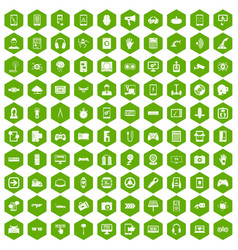100 gadget icons hexagon green vector image