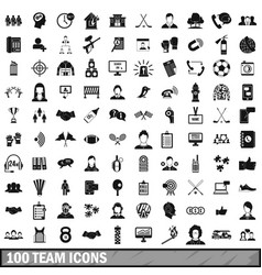 100 team icons set simple style vector image