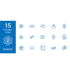 15 banking icons vector image
