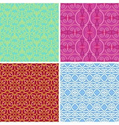 4 seamless patterns with geometric elements vector image