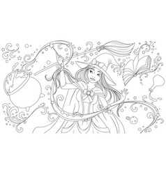 a beautiful young witch vector image