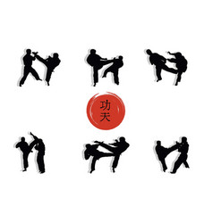 a group of men showing kung fu and a hieroglyph vector image