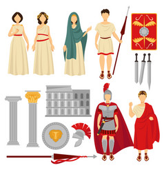 Ancient rome male and female characters and old vector